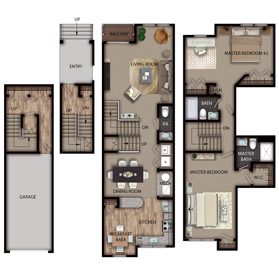 The Plaza Briarwood 2 Bedroom 2.5 Bath